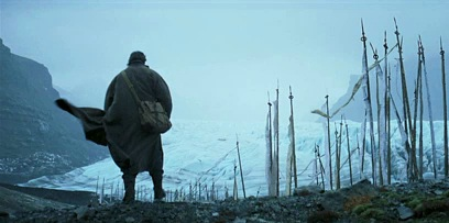 The lone hero, trekking off into the wilderness.