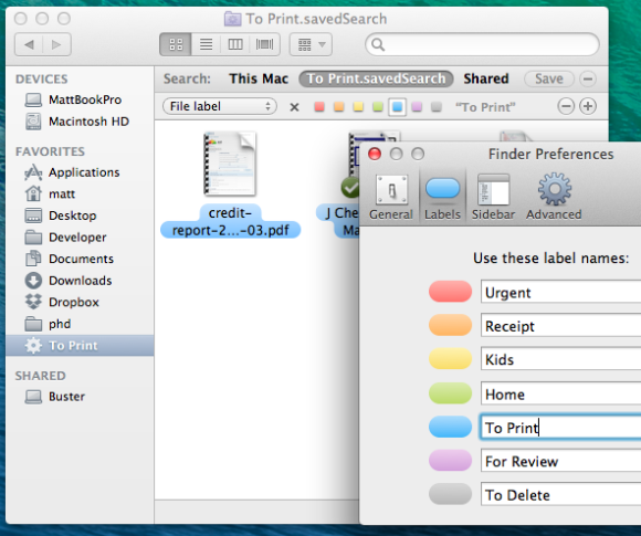 tags in OS X